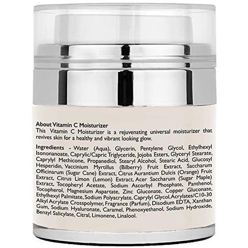 crema hidratante con vitamina c, 1.7 fl oz para cara, cuello