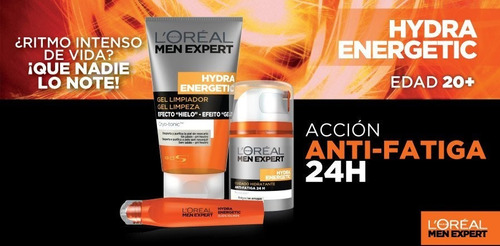 crema hidratante + roll-on ojos + gel limpiador loreal men