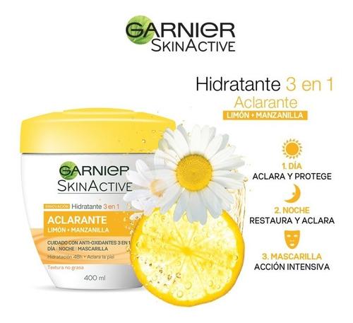 crema humectante aclarante 200 ml hidratante 3 en 1 garnier