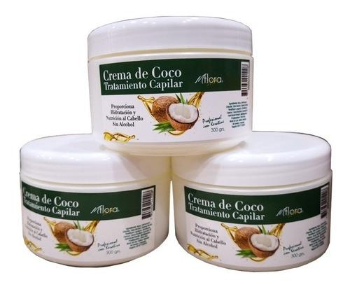crema keratina coco 300gr flora (16unid) 11139