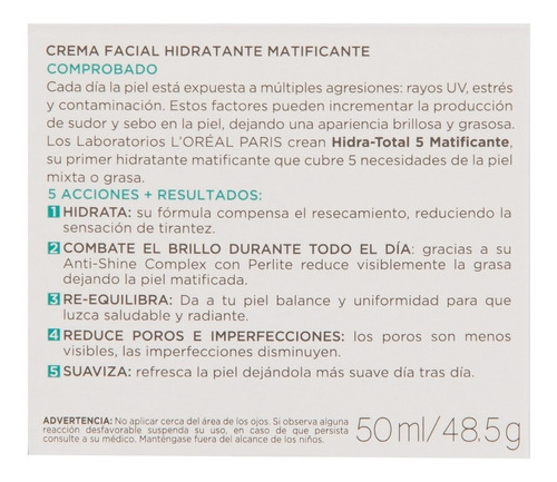 crema matificante l´oréal paris hidra total 5 x 50ml