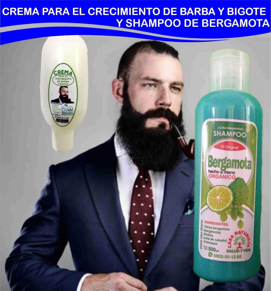 Crema Para El Crecimiento De Barba Y Shampoo De Bergamota -   299.00 ... 285e8a557ae0
