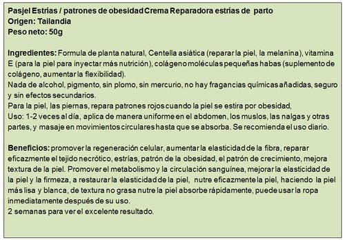 crema pasjel - elimina estrias - cuidado del cuerpo. orig