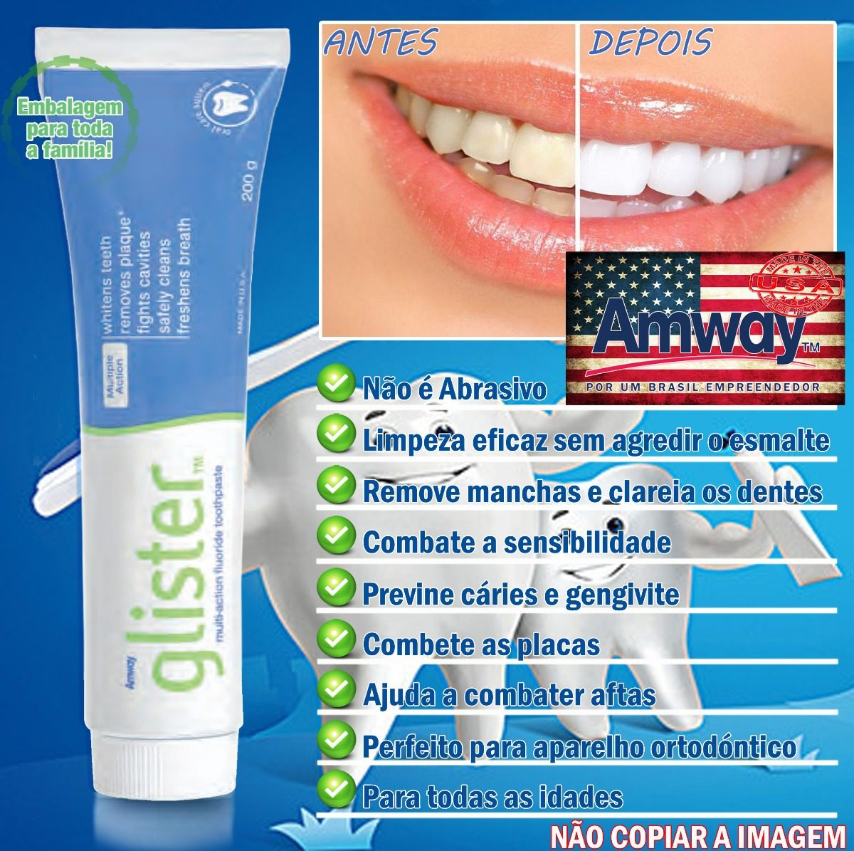 Creme Dental Glister A Melhor Do Mundo Amway 100 Natural Eua R