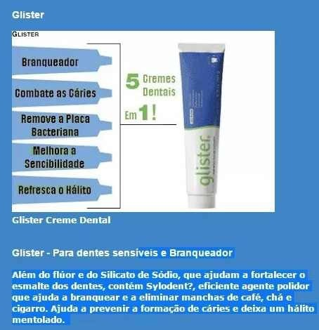Creme Dental Pasta De Dente Glister Amway 200g Kit 2 R 102 33 Em
