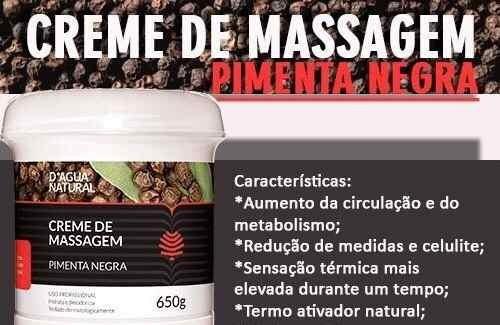 creme massagem pimenta negra termo ativo 650gr dagua natural