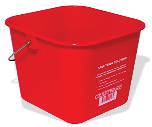 crestware buclr 8-quart saneamiento cubo, grande, rojo