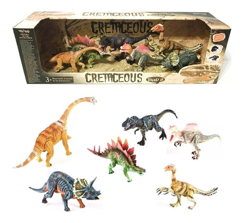 cretaceous set de dinosaurios x 6 partes moviles lny 99551