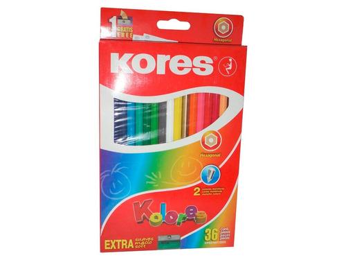 creyones de madera 36 colores kores hexagonales + sacapunta