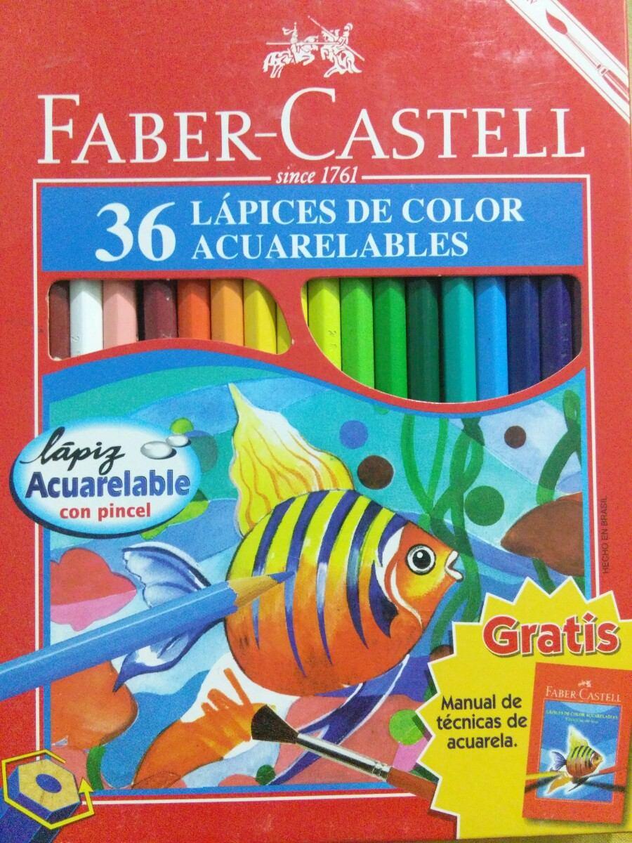 creyones faber castell acuarelables 36 colores y manual