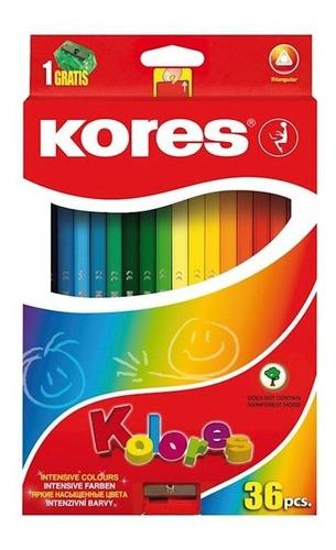 creyones  kores  triangular  de  36  colores