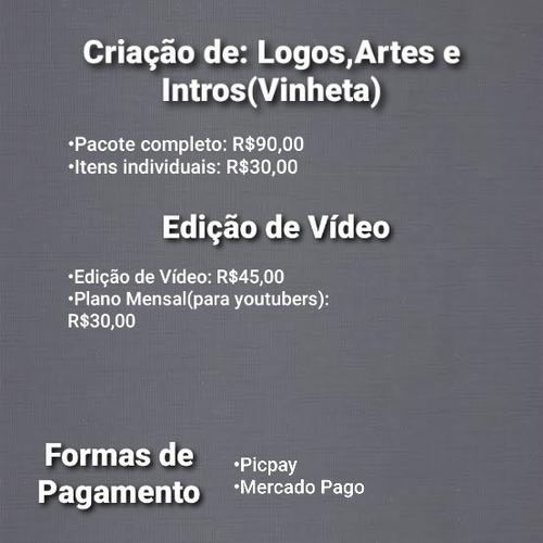 criação de logos,artes,intros e edição de vídeos