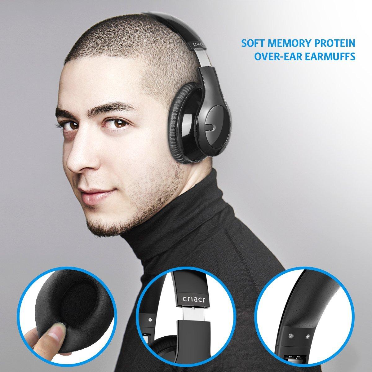6e40d659c86 Criacr Bluetooth Auriculares Encima Oreja , Suave Orejeras ...