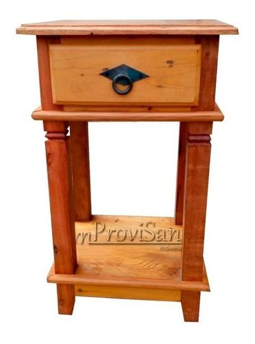 criado mudo 1 gaveta e 2 tampos madeira maciça rústica