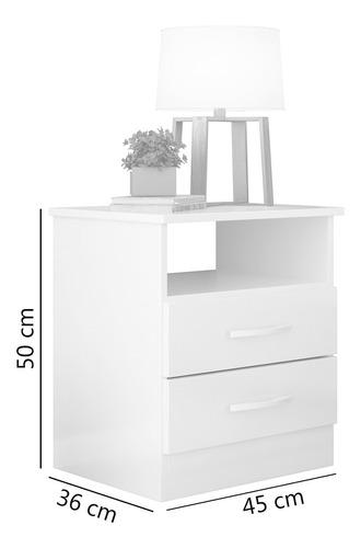 criado mudo 2 gavetas 1 nicho branco quarto albatroz modena