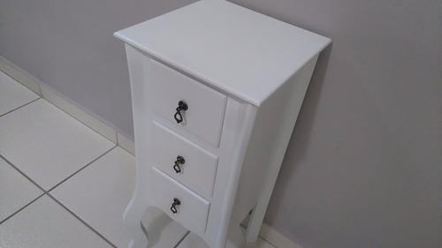 criado mudo aparador branco madeira  3 gavetas em mdf