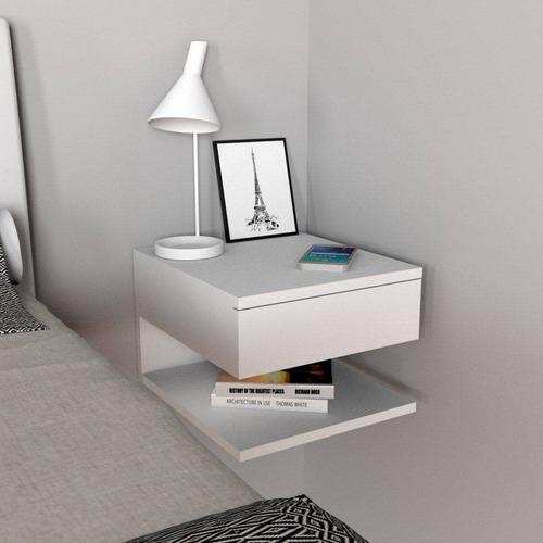 criado-mudo com gaveta e prateleira - mvd móveis - branco