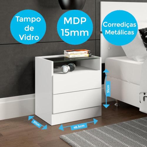 criado-mudo manto móveis tóquio 2 gavetas com vidro  branco