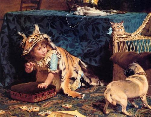 criança fera cachorro gato pintor barber na tela repro