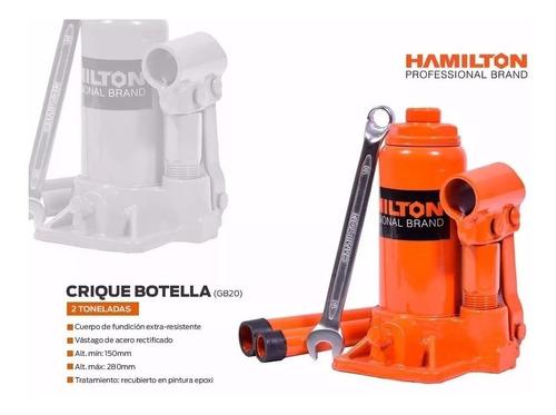 crique gato hidraulico botella 2 toneladas hamilton gb-20