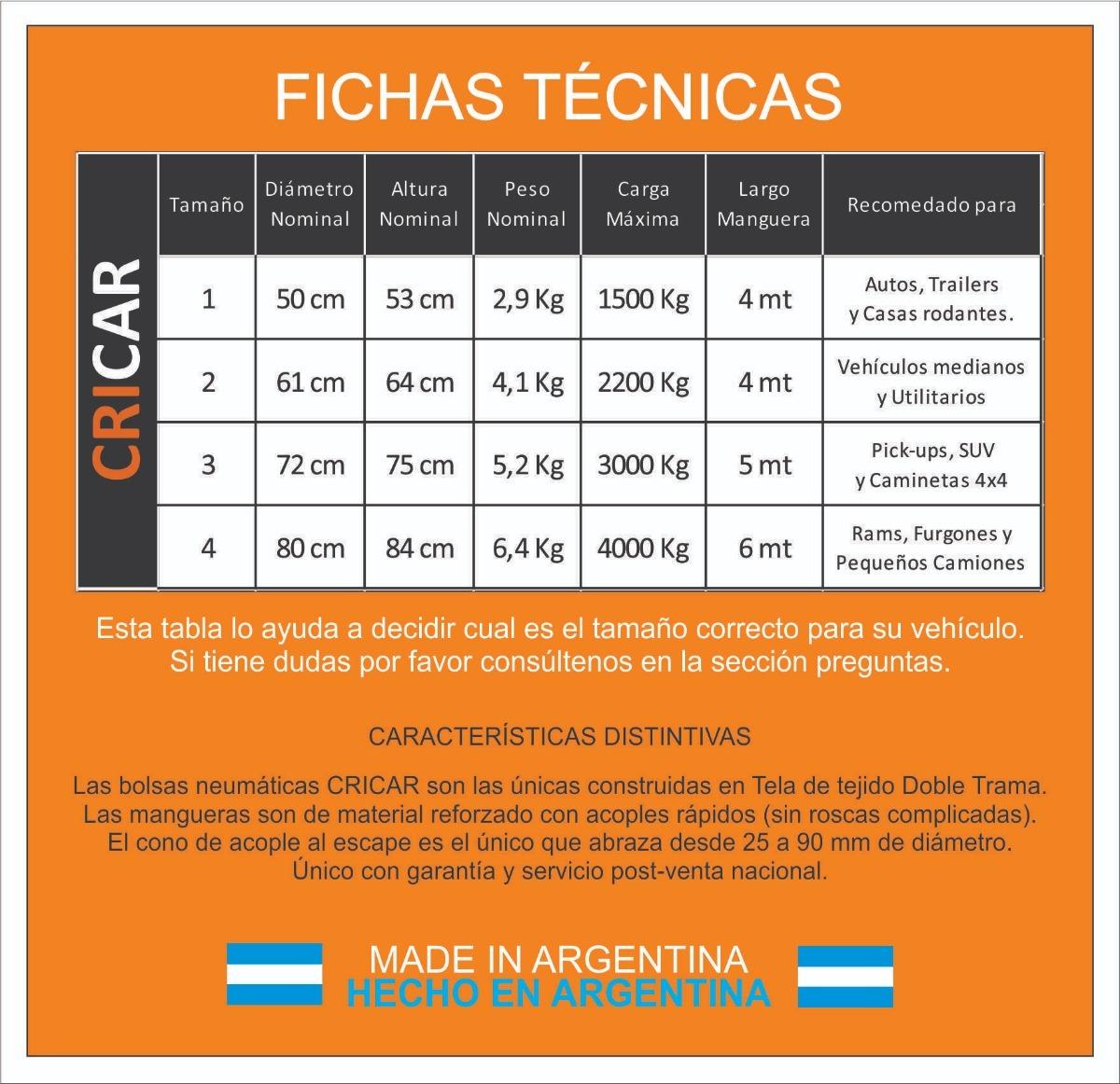 Crique Inflable Cricar Tamaño 1 Para Autos - $ 2.620,00 en Mercado Libre