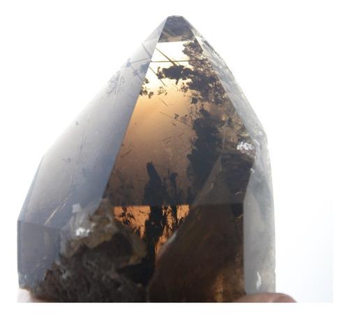 cristal fumê com rutilo dourado polido- pb27