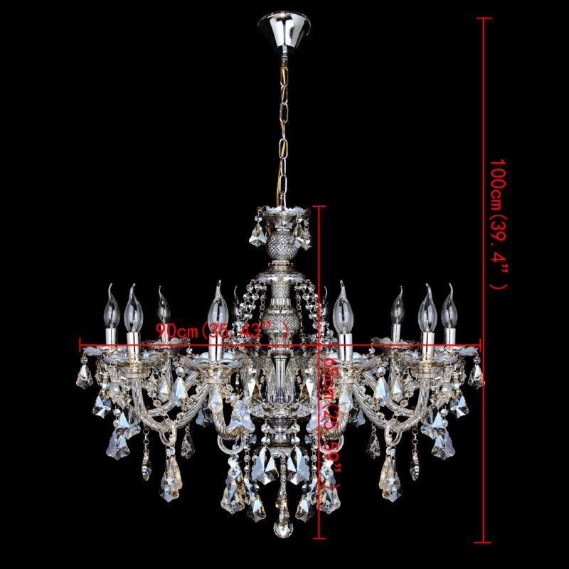 Lámpara Grande Lujo Vela Colgante 10 Araña Brazo Cristal De zVSUMqp
