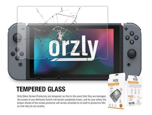 cristal mica x2 nintendo swicth vidrio protector orzly