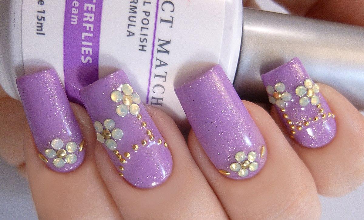 Cristal Para Uñas Color Violeta 100 Cristales Finos