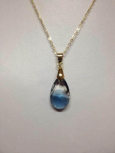 cristal swarovski gota azul montana y cadena chapa de oro