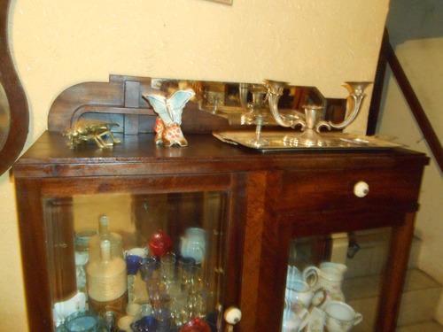 cristaleira antiga art deco anos 30 .40 2 gavetas vidro fren