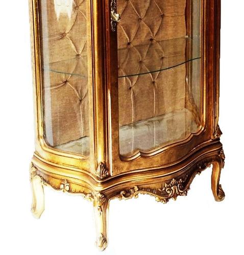 cristaleira antiga clássica luis xv folheada a ouro