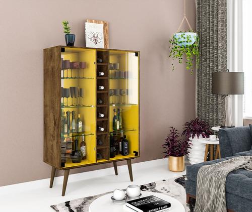 cristaleira bar adega modena cor madeira rustico/amarelo