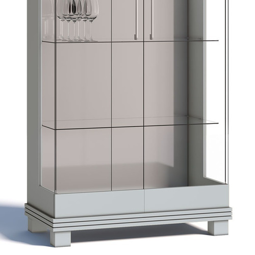 cristaleira cristal moderna c/ led - branca acetinada