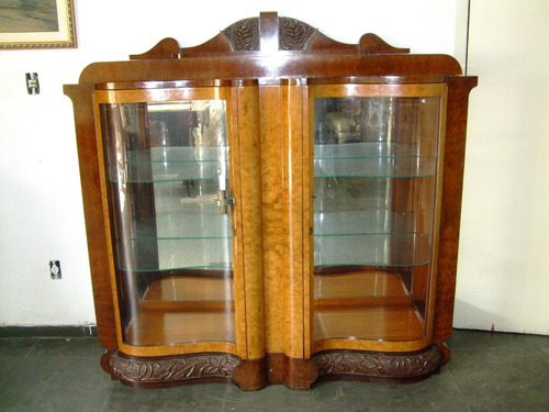 cristaleira em madeira de lei maciça ( rádica ), art deco