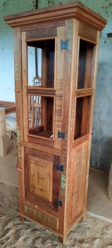 cristaleira torre madeira de demolição maciça