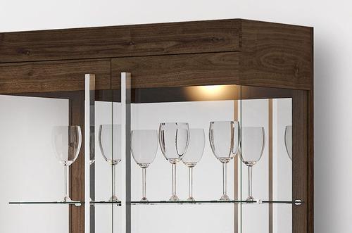 cristaleira vidro moderna channel espelho castanho - imcal
