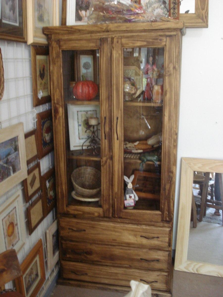Cristalero Lustrado Vajillero Modular Pino Campo Despensero  # Muebles De Campo Gaona