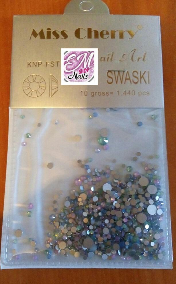 Cristales Opal Tonos Pastel Numeracion Mixta Uñas Decorado