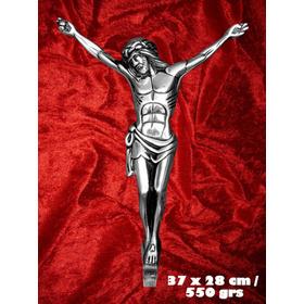 Cristo Crucificado Aluminio Artesanal (37cm)