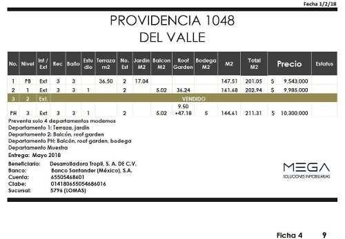 (crm-1947-1115)  providencia, del valle, departamento en preventa