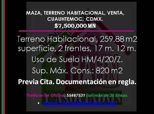 (crm-92-8749)  maza, terreno habitacional, venta, cuauhtemoc, cdmx.