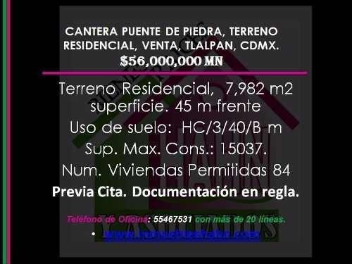 (crm-92-8757)  cantera puente de piedra, terreno residencial, venta, tlalpan, cdmx.