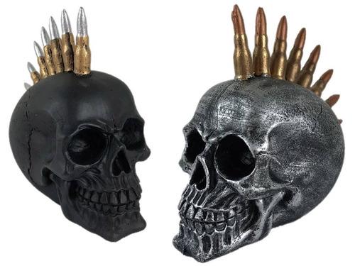 crânio caveira bala fuzil cabeça estatua decorativo resina