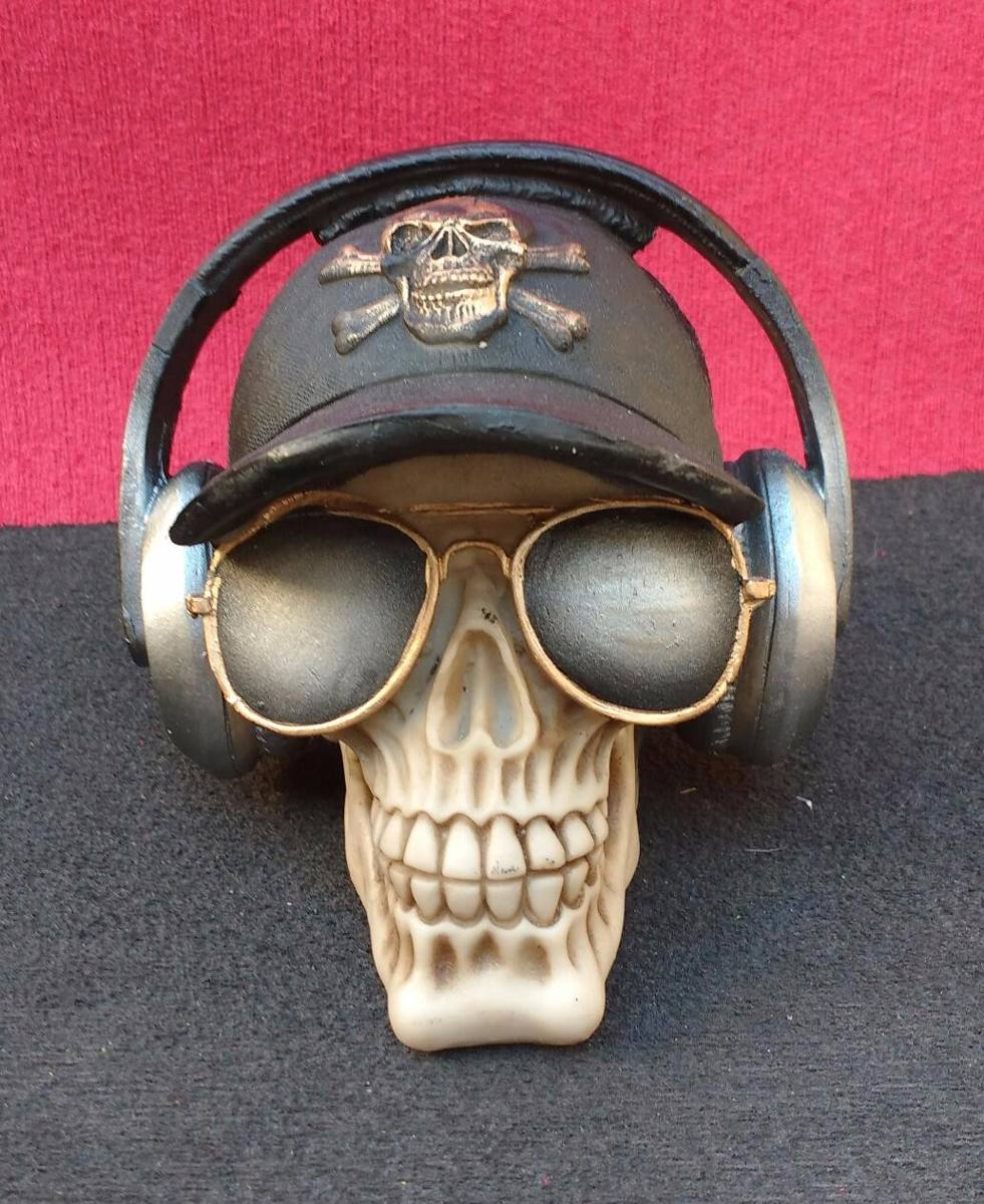 2945144fa1b47 crânio caveira ray ban boné fone de ouvido detalhado resina. Carregando  zoom.