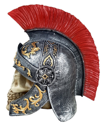 crânio soldado romano caveira com capacete decorativo 20 cm.