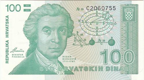 croacia, antiguo billete coleccionable 100 kunas 1.991  unc
