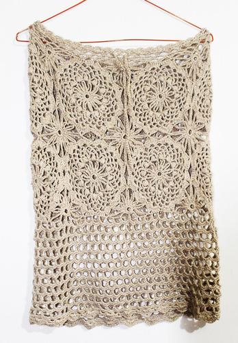 crochet chile, falda playa tejida crochet, talla m