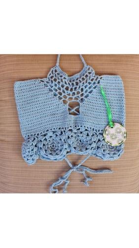 crochet crop top blusa tejida dama