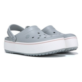 Crocs  Crocband Platform Mujer- (light Grey /rose) (barely Pink )